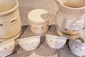 Longaberger Other - Longaberger red woven pottery set.